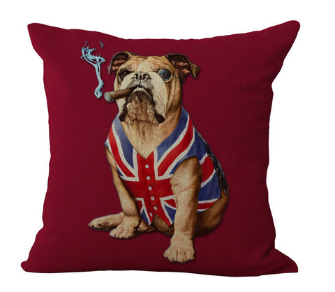 English Bulldog Smoking Cigar British Flag Shirt Pillow Case