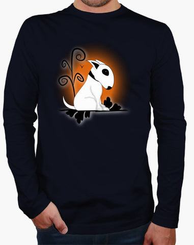 Cute Bull Terrier Sitting Head Down Long Sleeve Shirt