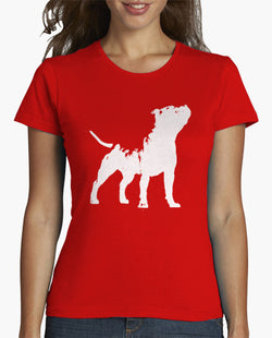 Howling Pit Bull Painting Outline Women's T-Shirt