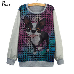 Blue Purple Circle Pattern Happy French Bulldog Women's Sweatshirt