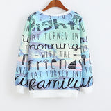 Colorful Blueish Letter Design French Bulldog Women's Sweatshirt