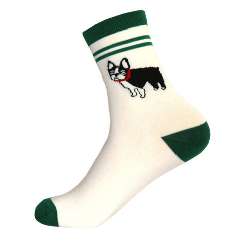 French Bulldog Red Collar Green White Crew Sock