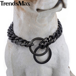 Cuban Black Chain Link Style 13mm Wide Dog Collar