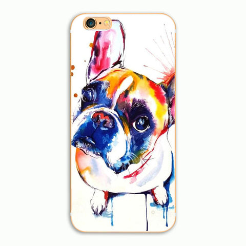 French Bulldog Looking Up Water Painting Phone Case for iPhone