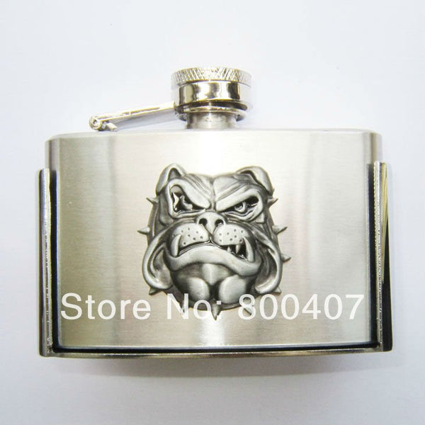 Grinning Angry English Bulldog 3oz Flask Belt Buckle