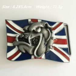 British Flag Angry English Bulldog Belt Buckle