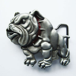 Buff Cut Up English Bulldog Battle Stance Metal Belt Buckle