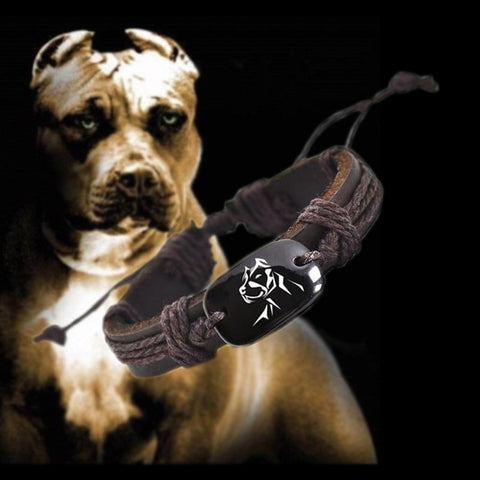 Pitbull Head Strong Outline Leather Braided Rope Chain Bracelet