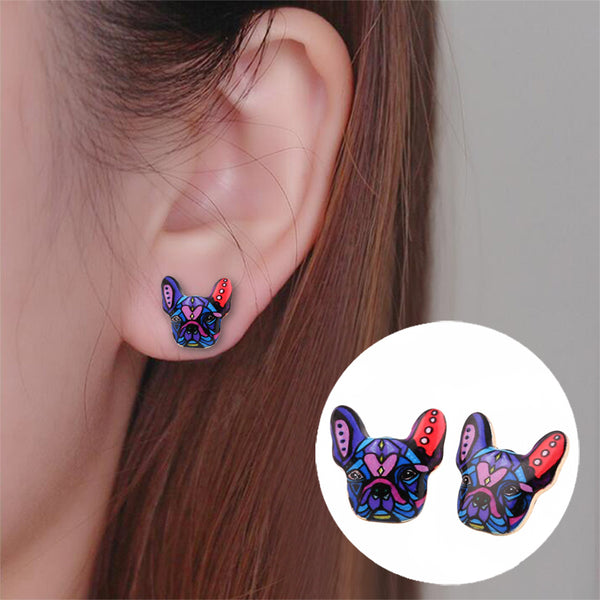 Mosaic French Bulldog Stud Earrings