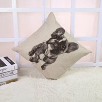 French Bulldog Gray White Shading Painting Pillowcase