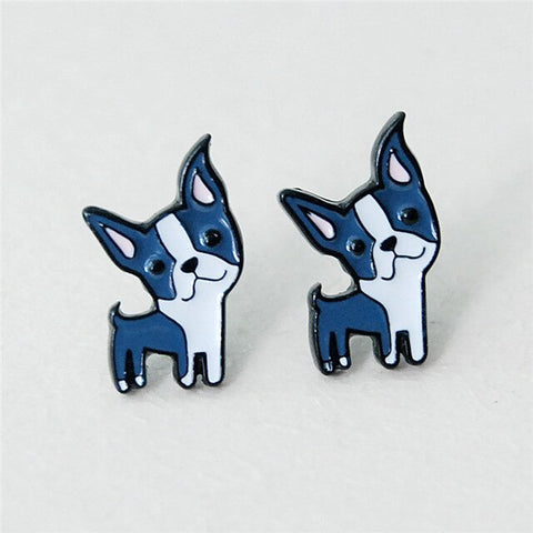 Cute Boston Terrier Cartoon Stud Earrings