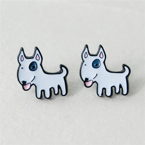 Cute Bull Terrier Cartoon Stud Earrings