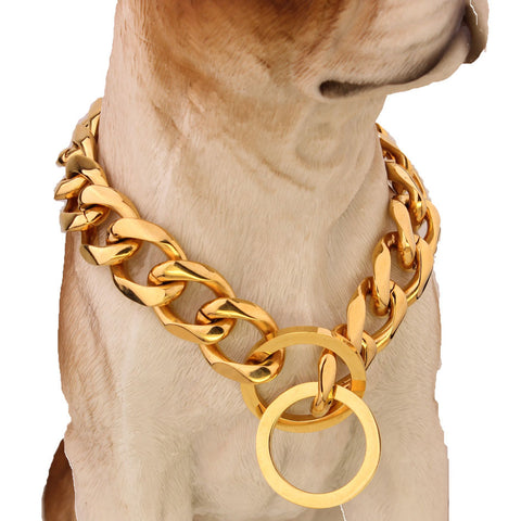 Cuban Chain Link Style 17mm Wide Dog Collar