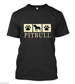 Pitbull Dog Silhouette and Paws Men's T-Shirt