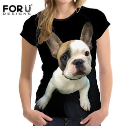 White Brown French Bulldog Puppy Portrait Women's Black T-Shirt Top
