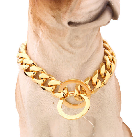 Cuban Gold Chain Link Style 15mm Wide Dog Collar