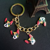 Four French Bulldogs Keychain