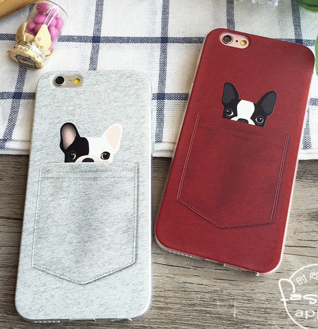 Cute French Bulldog Peaking From Bottom of Pocket Flat Phone Case for iPhone, Galaxy