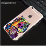 Colorful Pattern Design Pit Bull Clear Phone Case for iPhone