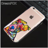 Colorful Pit Bull Ears Up Silicone Clear Phone Case for iPhone