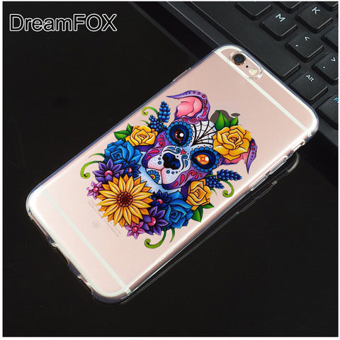 Colorful Creative Pit Bull Flowers Clear Phone Case for iPhone