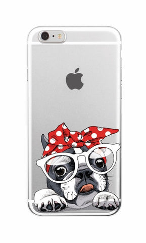 French Bulldog Red White Polka Dots Headband Glasses Transparent Phone Case for iPhone, Galaxy