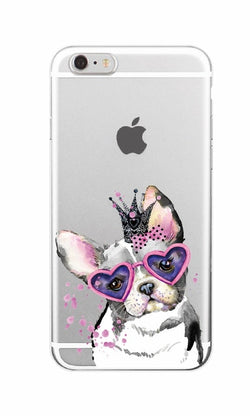 Girly Love Glasses Pink Head Tie French Bulldog Transparent Phone Case for iPhone, Galaxy