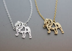 Tiny Full English Bulldog Outline Pendant Necklace