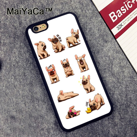 French Bulldogs Multiple Emojis Pattern Phone Case for Apple iPhone