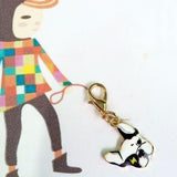 Animated Colorful French Bulldog Head Snap Hook Keychain