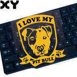 "I Love My Pit Bull Badge Hanging Ears Sticker (4.3"" x 5.1"")"