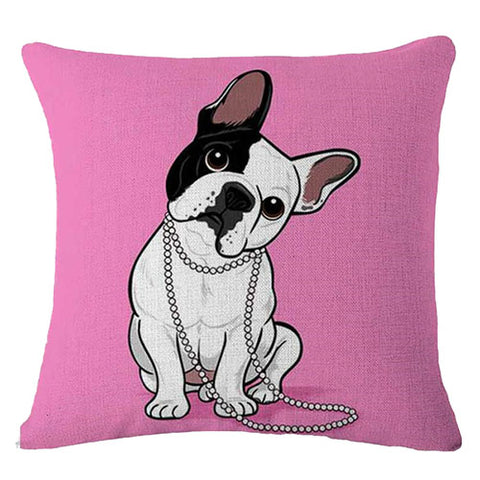 Slanted Head White French Bulldog Half Black Pink Pillowcase