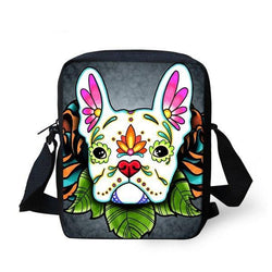 Colorful Floral French Bulldog Design Shoulder Bag