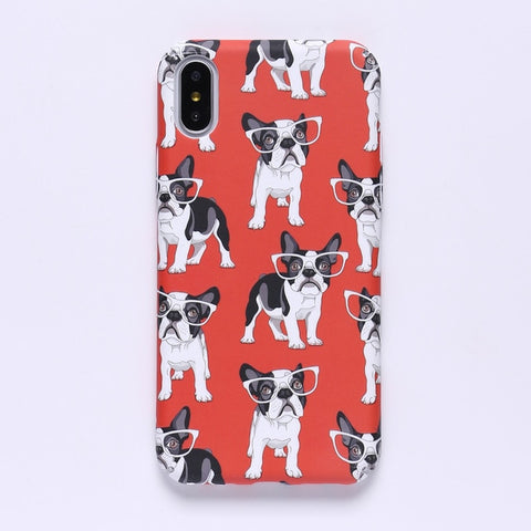 French Bulldog Big Glasses Red Background Phone Case for iPhone