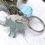 French Bulldog Shape Antique Keychain