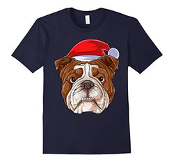 Santa English Bulldog Face Christmas Men's T-Shirt