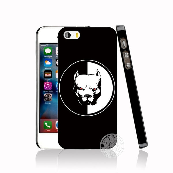 Angry Red Eye Black White Pit Bull Phone Case for iPhone