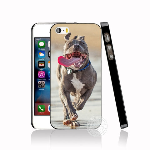 Running Tongue Out Blue Pitbull Phone Case for iPhone