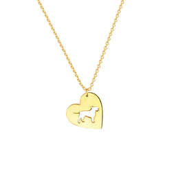 Bull Terrier In Heart Pendant Necklace