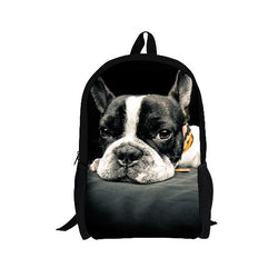 Lazy Black White French Bulldog Prone Backpack