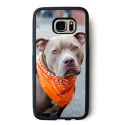 Gray Pit Bull Orange Bandana Phone Case for Samsung Galaxy