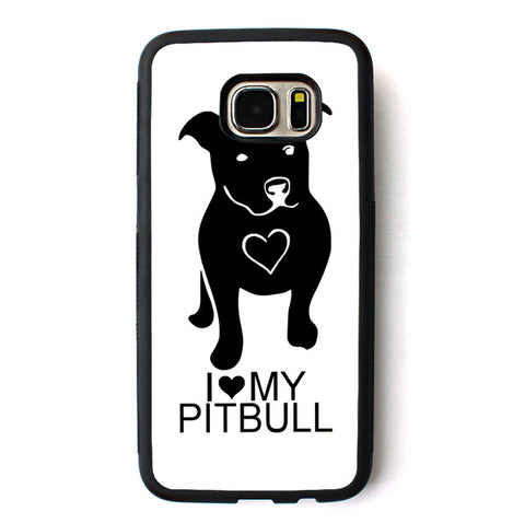 I Love My Pit Bull White Black Phone Case for Galaxy