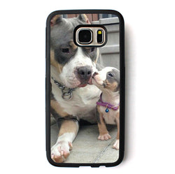 Gray Brown White Mom Puppy Pit Bull Phone Case for Galaxy
