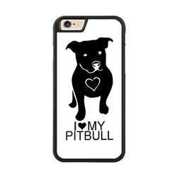 I Love My Pit Bull White Black Phone Case for iPhone