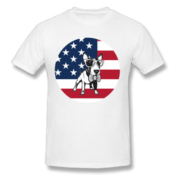 Bull Terrier Glasses Bow Tie USA Flag Men's T-Shirt