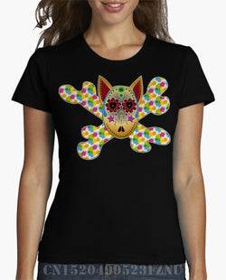 Colorful Skeleton Bull Terrier Head Women's T-Shirt