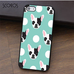 Black White French Bulldog Head Pattern White Circle Phone Case for iPhone