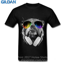 DJ English Bulldog Sunglasses Headphone Men's T-Shirt