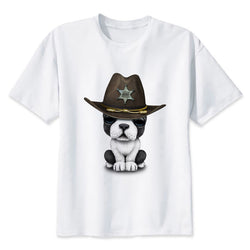 French Bulldog Puppy Cowboy Hat Men's T-Shirt