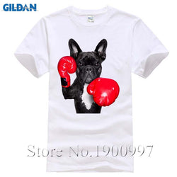 Black French Bulldog Red Boxing Gloves Men's T-Shirt
